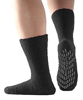 Non Skid/Slip Socks - Hospital Socks - Slipper Socks for Women and Men - Black  One Size