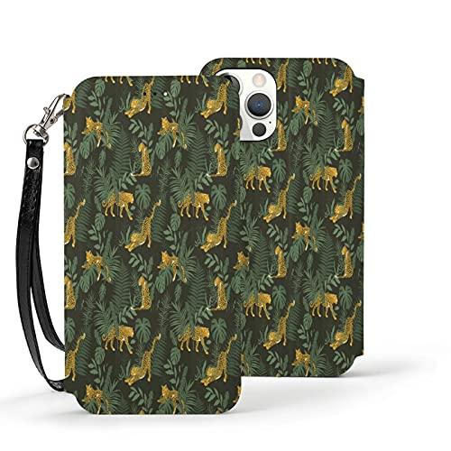 Funda para iPhone 12,Funda Tipo Cartera para iPhone 12 con Tarjetero,leopardos en Forest Jungle Park,Funda Protectora Interior de TPU a Prueba de Golpes para iPhone 12 de 6.1 Pulgadas