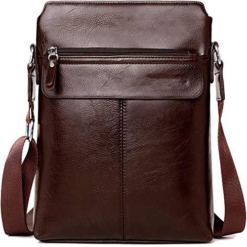 Herren Ledertasche Umhängetasche Klein Vintage Messenger Bag Für 9.7 Zoll Ipad Moderne Leder Schultertasche,Braun,Black,29X24x5cm,A