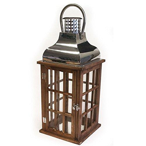 Multistore 2002 Holz Laterne mit Metalldach Holzlaterne Windlicht 20x20x47cm Stalllaterne Leuchte Kerzenhalter Kerzenleuchter Teelichthalter Dekoration Braun