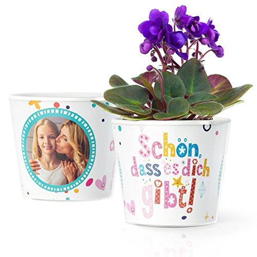 Facepot Schön DASS es Dich gibt - Blumentopf (ø16cm) | Geschenkidee zum Muttertag, Geburtstagsgeschenke oder Weihnachten mit Bilderrahmen für Zwei Fotos (10x15cm)