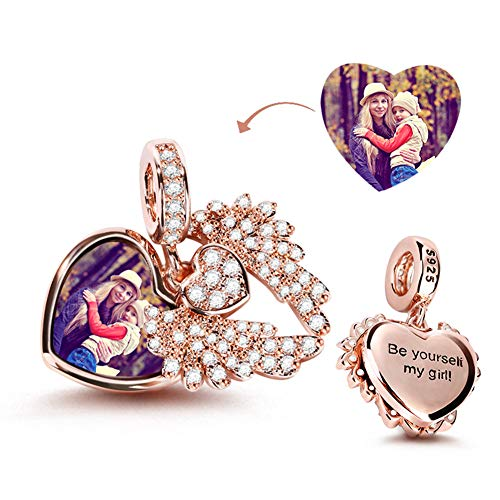 Gnoce Customised Photo Bead charms Sterling Silver Heart Custom Charms Jewelry Personalized Picture Charm fit all Bracelets Necklaces Gift for Family Friends Women Girls (Style-3)