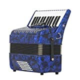 M-zutx Azul 48 Bajos 26 teclas Acordeones de afinación manual Tocado for adultos Acordeón de conjunto Solitario Teclas de piano de primavera de tres filas Tocar los acordeones