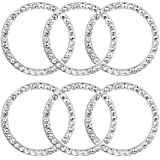 HX Online 6 Pcs Car Decor Crystal Rhinestone Ring, Car Bling Sticker Emblem Ring, Bling Car Interior Decor Ring for Car Engine Ignition Button Key & Knobs, Unique Gift (Silver)
