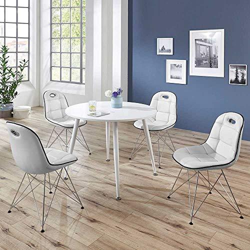 Pharao24 Design Essgruppe mit rundem Tisch Weiß