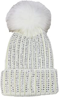 D&Y Women's David & Young Bling Knitted Beanie with Pom
