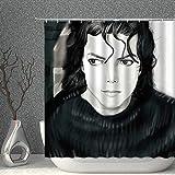 NJMRZX Vintage Duschvorhang Michael Jackson schwarz weiß Ölgemälde Dekor Stoff Polyester Badezimmer Gardinen mit Haken 203 x 178 cm
