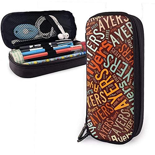 Ayers - Apellido americano Estuche de lápices de cuero de alta capacidad Bolígrafo Papelería Organizador Titular Marcador universitario Bolígrafo Cosas Bolsa de viaje