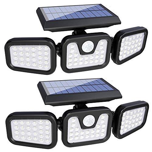 Lampe Solaire Exterieur Detecteur de Mouvement, 74 LED IP65 Etanche Projecteur Solaire à LED avec 3 Têtes, Rotation à 360 Degrés, Eclairage Solaire pour Jardin, Extérieur, Chemin, Allée, Entrée