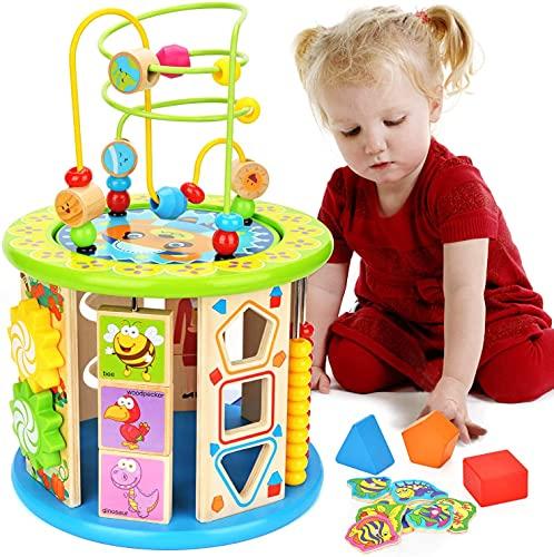 Elover Cube Activite en Bois 10 en 1 Multifonction Labyrinthe de Perles pour Enfant Petit Ours Centre d'Activités Jeu d'éveil Premier Âge Jouet Educatif Interactif Cadeau pour Les Jeunes Bébé