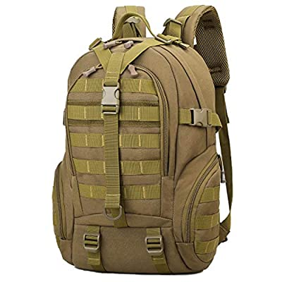RUI NUO 40L Tactical Backpacks Military Backpack Molle Bag Hiking daypacks for Camping Hiking Military Traveling Motorcycle (Khaki)