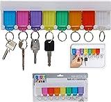 Schlüsselbrett mit 8 verschieden farbigen Anhängern - Inkl. Etiketten zum