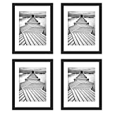 UnityStar 11x14 Picture Frames, Matted to 8x10 Frame, Black Solid Wood Photo Frame with Tempered Glass, Wall Mounting for Wedding Party Family, Black, 4-Pack