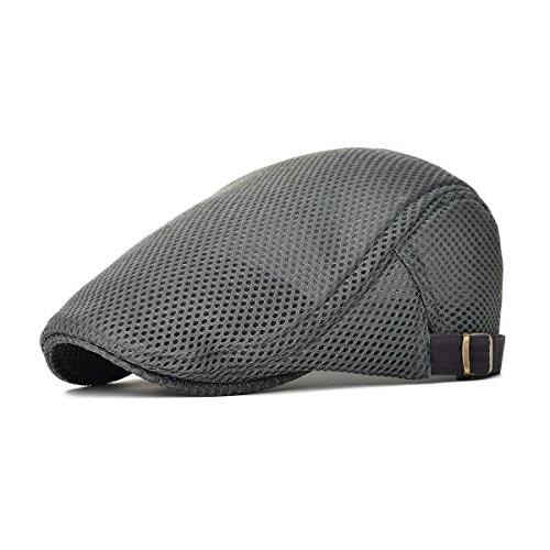 Kuyou Herren Schirmmütze Sommer Kappe Hut Schiebermütze Flatcap (Grau)