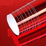 FRFJY Auto Chapado Película Coche Color Película Automático Espejo Cromado Película de Vinilo Paquete Pegatina Forma Elástico Reflectante Super Brillo - Rojo