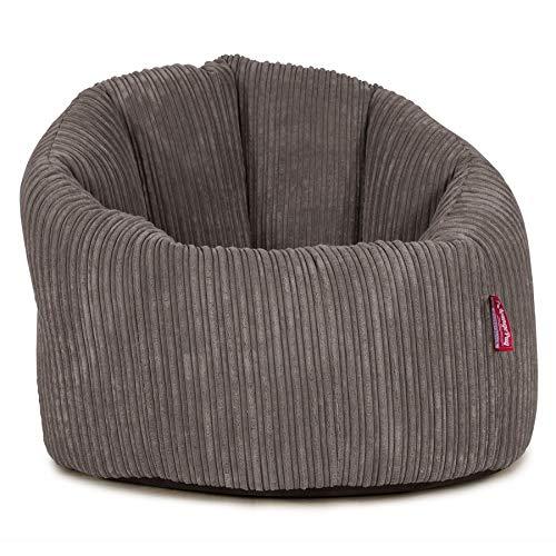 Lounge Pug, Sitzsack Kuschel Lounge Sessel mit Hocker, Schlafsofa, Cord Schiefergrau