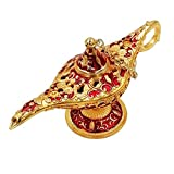 Honoro Vintage Aladdin Magic Genie Lamp,Metal Wishing Light for Home Wedding Party Table Decoration Delicate Gift,Small Red
