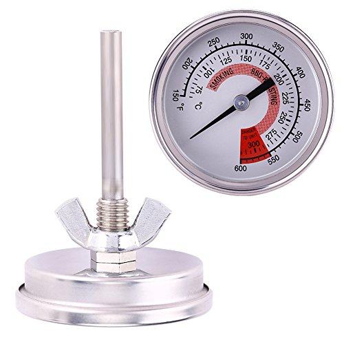 Aramox Thermomètre pour Barbecue, Acier Inoxydable 75 ℃ -300 ℃ Thermomètre pour Fumeur de Barbecue
