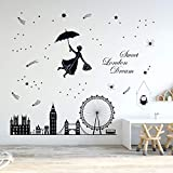 decalmile Pegatinas de Pared London Skyline Vinilos Decorativos London Eye Big Ben Adhesivos Pared Dormitorio Sala Oficina Hotel