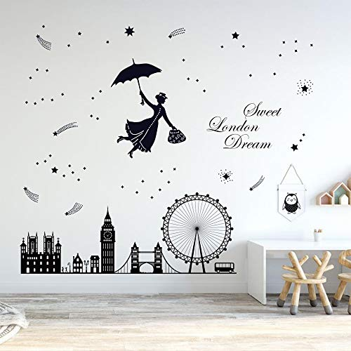 "decalmile Wandsticker London Skyline Wandtattoo Sprüche und Zitate ""Sweet London Dream"" London Eye Big Ben-Uhr Wandaufkleber Schlafzimmer Wohnzimmer Wanddeko"