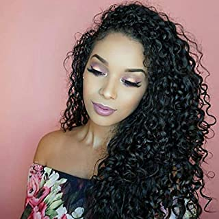 360 Lace Frontal Wigs Deep Curly 150% Density Human Hair Wigs for Black Women with Baby Hair Natural Color 16 inch