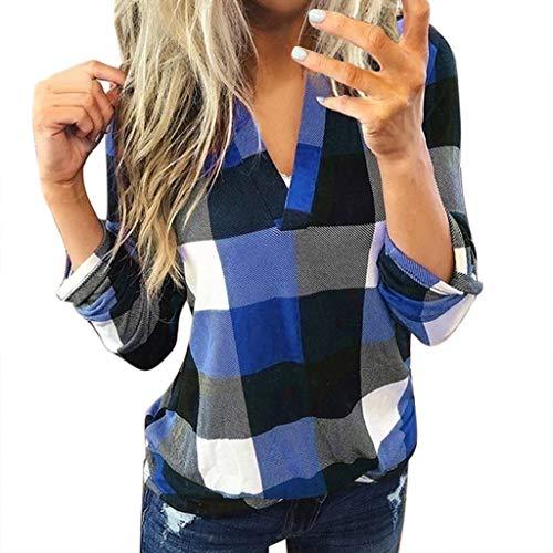 Xmiral Bluse Damen Kariertes Shirt Slim Fit V-Ausschnitt Rollbare Ärmel Tops Sweatshirts Langarm Jacke Stehkragen Hemd Pullover(Blau,5XL)