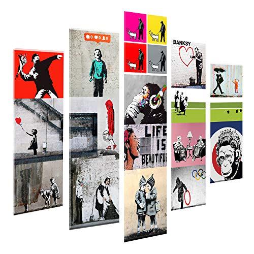 Giallobus - 5 Stück Multipanel-Panel - Banksy - Collage - Druck auf Forex 3D Relief Effekt - bereit zu hängen - 140x100 cm