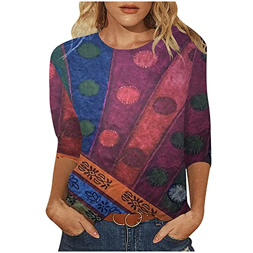 Women's Vintage Fall Blouse Long Sleeve Round Neck Splicing Pullover Shirt Retro Graphic Print Loose Casual Sweatshirt Red