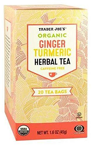 Trader Joes Organic Ginger Turmeric Herbal Tea 20 Tea Bags (One Pack)