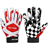 KUTOOK Football Gloves Receiver Gloves Sticky Gloves Palm Protection Men Red Medium