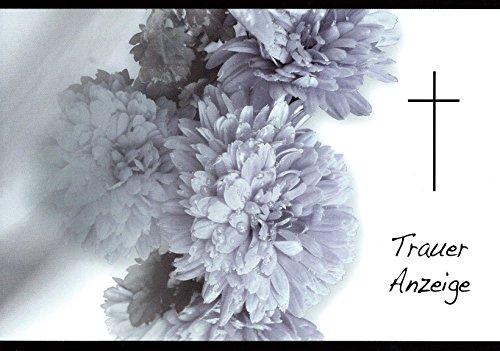 Traueranzeigen Trauerkarten Sterbefall mit Innentext Motiv Chrysantheme 10 Klappkarten DIN A6 im Hochformat mit weißen Umschlägen K73