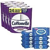 Toilet Paper & Flushable Wipes Bundle Pack, Cottonelle Ultra ComfortCare Toilet Paper (24 Family Mega Rolls) + FreshFeel Flushable Wet Wipes for Adults (8 Flip-Top Packs, 336 Total Wipes)