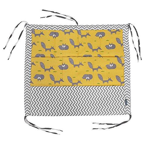 Fdit Bolsa Colgante para Cuna de Bebé Bolsa de Almacenamiento con 9 Bolsillos Organizador de Juguete y Pañales Tela de Algodón con Espuma Relleno Cuna Closet Extender(Zorro)