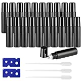 20PCS Roller Bottles 10mL Essential Oil Ultra Thick Matte Black Frosted Glass (2 Openers+3 Pipettes Value Pack), Stainless Steel Roller Balls w/Black Cap