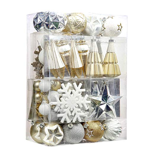 Valery Madelyn 155ct Elegant Gold and White Shatterproof Christmas Ball Ornaments Decoration, Themed with Tree Skirt (Not Included)