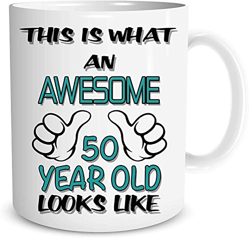 Taza de cerámica con texto en inglés 'This is What an Awesome 50 Years', con texto en inglés 'Best Friend'