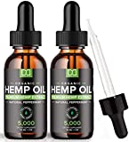(5000mg) Hemp Oil Maximum Strength for Stress Relief Inflammation Sleep Focus Mood Pain Skin Care Hair Growth Support - Natural Organic Hemp Seed Tincture Oil Drops Herbal Extract Supplements (2 Pack)