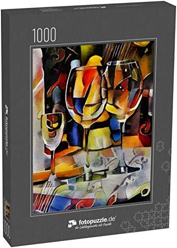fotopuzzle.de Puzzle 1000 Teile Stilleben von Essen, Gläsern und Wein Bildende Kunst in Form von Abstraktion im Stil des Kubismus
