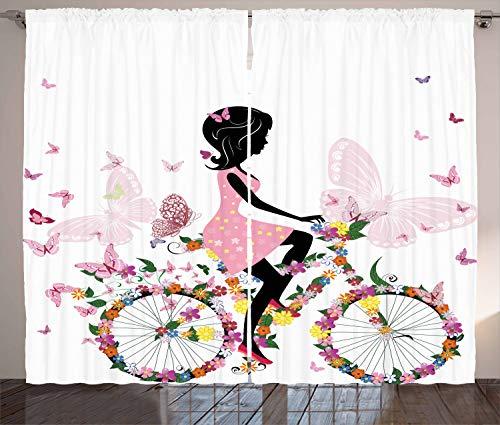 ABAKUHAUS Bicicleta Cortinas, Niña de Las Flores de Las Mariposas, Sala de Estar Dormitorio Cortinas Ventana Set de Dos Paños, 280 x 175 cm, Multicolor