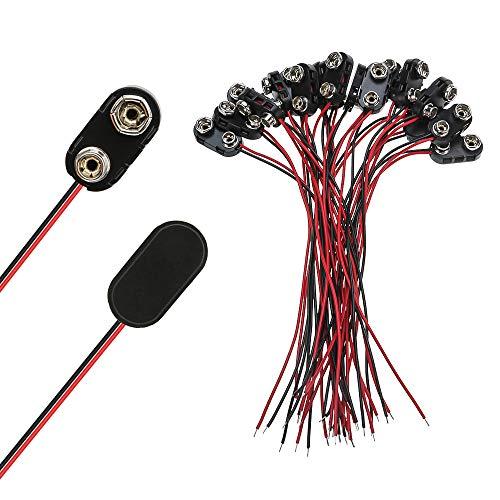 SENZEAL 20PCS 15cm 9V Kunststoff I-Typ Batterie Steckverbinder Kupferdraht Drahtlänge für Spielzeugen, Telefonen, Beleuchtungskörpern, Fernbedienungen kleinen elektronischen Produkten