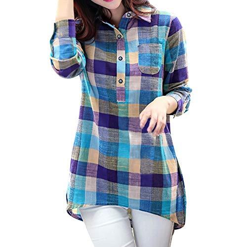YAnGSale Top Women Blouse Plaid Shirt Button T-Shirt Casual Loose Tee Tops Long Sleeve Sweatshirt Matching Color Pullover (Blue, L)