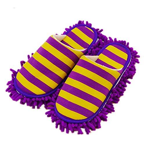 Pormow 1 Paar Multifunktions Putz-Hausschuhe mit Reinigender Bodenreinigung Slippers Shoe Cover Mikrofaser-Sohle