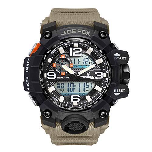 Herren Digitale Armbanduhr, Military Sport Analog-Digital Chronograph Uhren für Männer, Big, 56 mm Wasserdicht LED Harz Gurt Armbanduhr (Khaki-2)