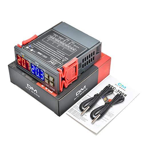 diymore STC-3008 Digitaler Temperatur Regler Thermostat AC 110V-230V mit doppelter NTC-Sondensonde Kühler Heizung für Tiere Heizmatte,Inkubator Hühner Heizfolie Reptilien Amphibien