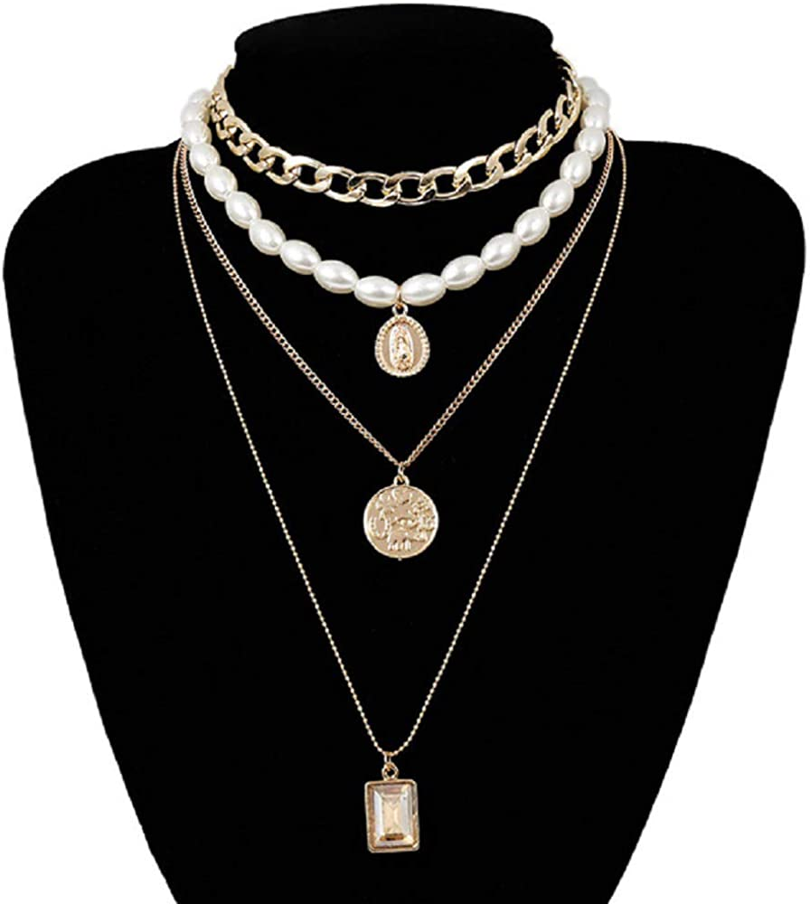 Multi Layered Pearl Choker Necklace Collar,coin Crystal Pendant