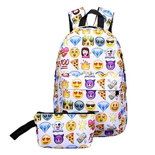 LXESWM Schulrucksack Mädchen Emoji Rucksack Nette Kinder Schule Bookbags for Mädchen Jungen, Smiley Drucken Rucksack Wasserdicht Fashion Rucksack Reisetasche (Farbe : A)