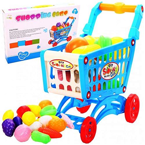 HUKITECH XXL winkelwagentje voor kinderen - extra veel inhoud - winkelwinkelmandje winkelmandje winkeltas supermarkt spel familiespel met hoge plezierfactor