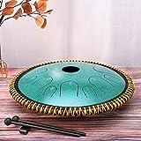4yang tamburo in acciaio 14 toni,tamburo a mano da 14 pollici con martelletti, libro di testo e borsa per il trasporto per meditazione yoga educazione musicale(blu)