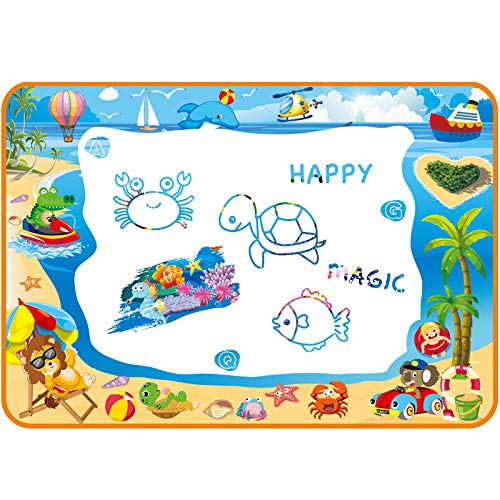Water Doodle Mat for Toddler - Aqua Magic Mat Provides Hours of Fun - Perfect Magic Water Drawing Mat for Girls Age 3-4 - Exciting Aqua Doodle Mat for Kids - Coloring Water Drawing Pad for Toddlers