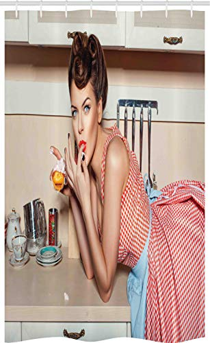 ABAKUHAUS Pin-up girl Douchegordijn, Meisje dat een cake eet, voor Douchecabine Stoffen Badkamer Decoratie Set met Ophangringen, 120 x 180 cm, Veelkleurig
